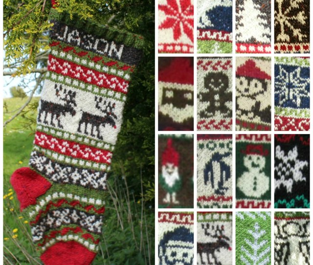 Knitting Pattern Collection Of  Christmas Stockings Charts Fair Isle With Detailed Instruction For Personalized Santa Sock Pdf Only