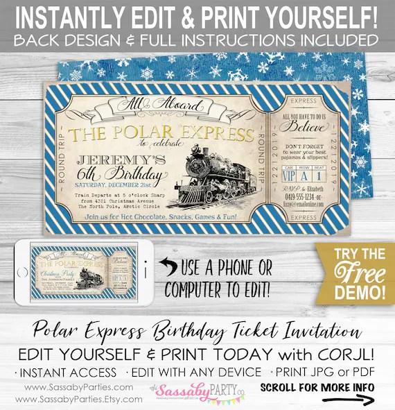 polar express birthday invitation
