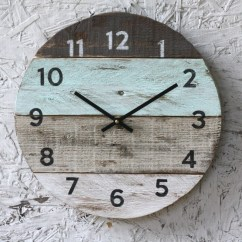 Wooden Kitchen Clock Home Depot Faucets Moen Beach House Handmade Round Reclaimed Wood Wall Etsy Image 0