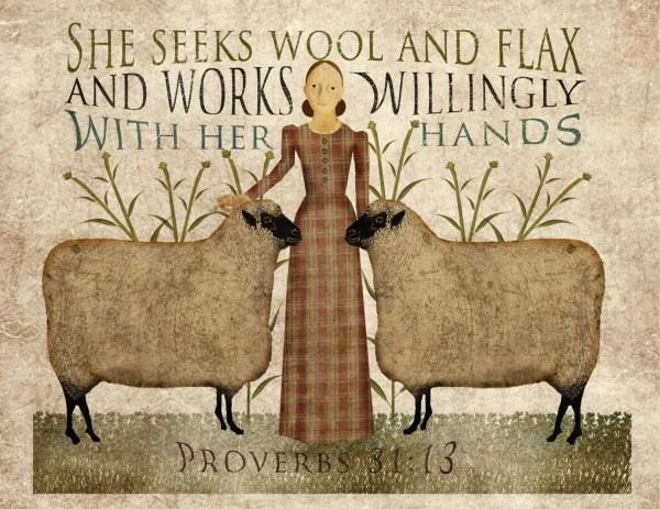 Primitive Folk Art Wool And Flax 8.5x11 Print