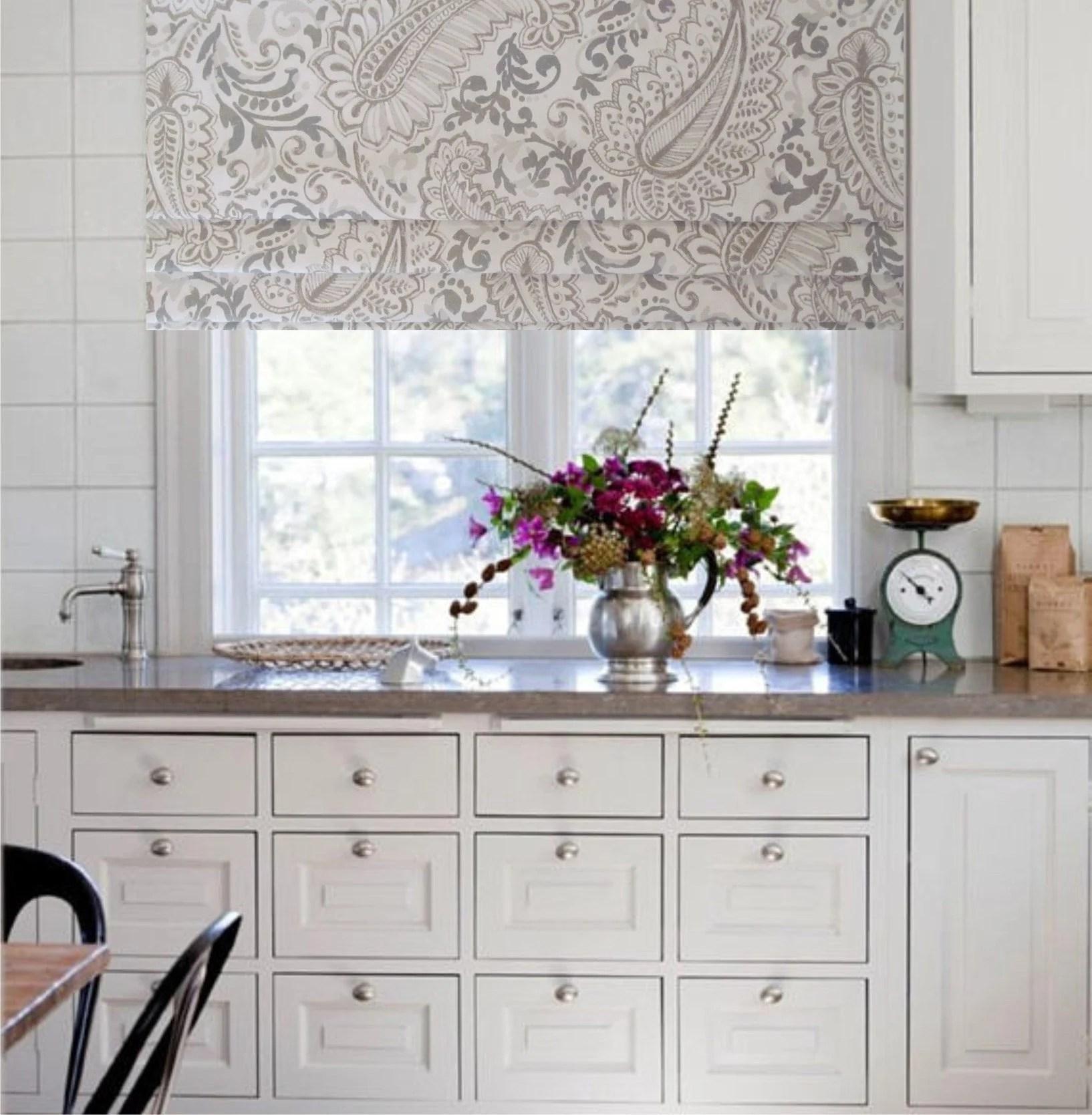 kitchen shades building wall cabinets custom roman shade etsy paisley faux lined mock valance fake shannon ecru sizing available