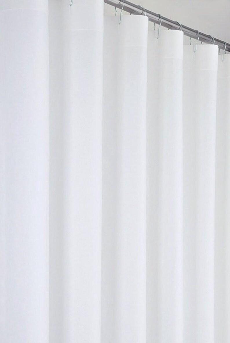 White Linen Cotton Shower Curtain 72 Wide Extra Long Sizes Preshrunk
