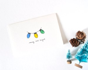 christmas drawing lights card simple merry drawings thinking bright whimsical paintingvalley