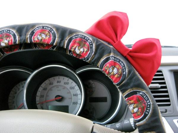 Steering Wheel Cover Bow Usmc Marine Corps