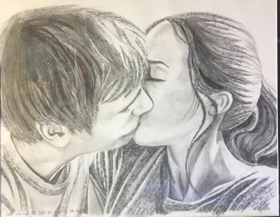 Kiss Drawing Love Art Couple Kissing Wall Art Wall Decor Etsy