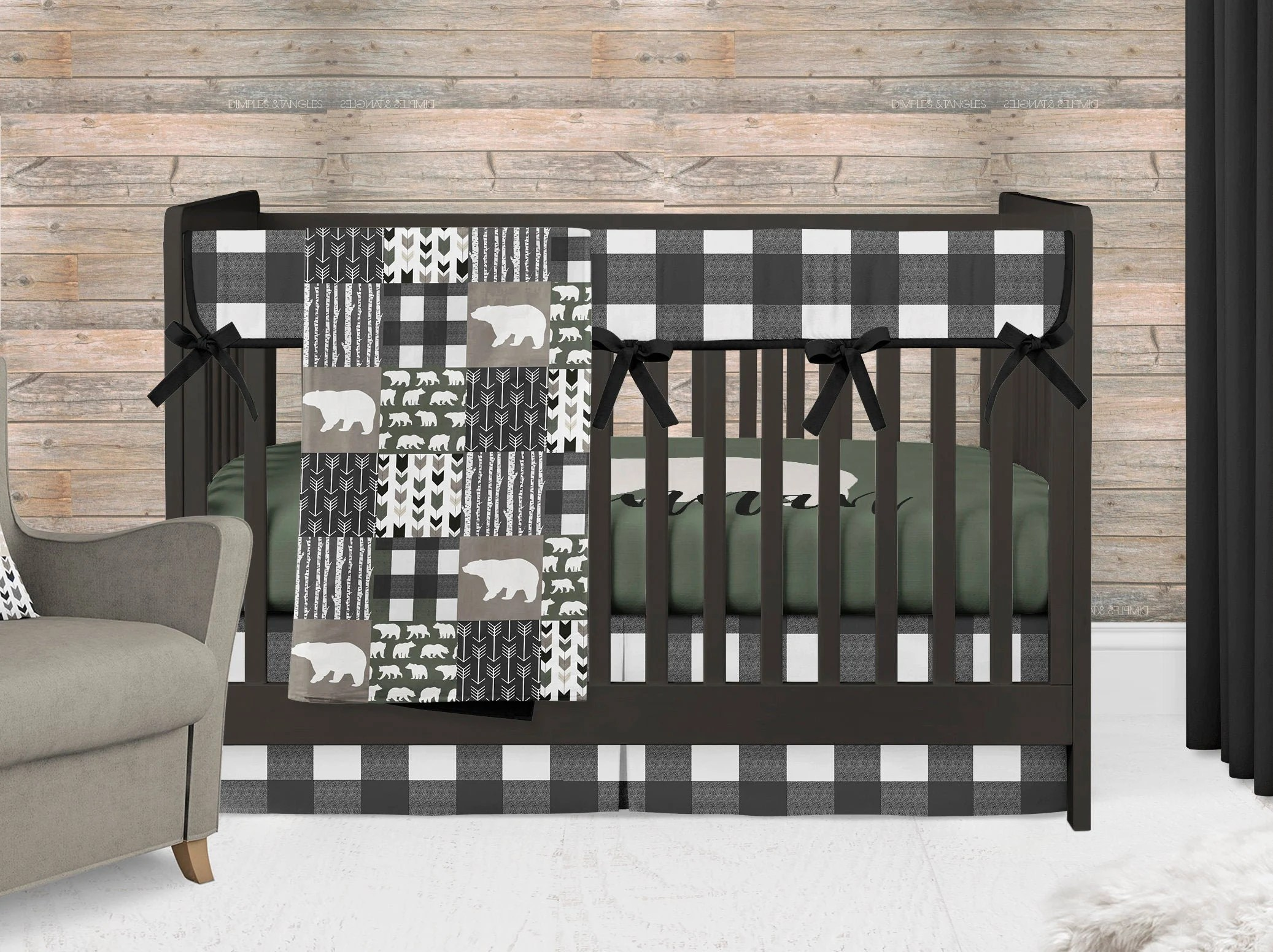 bear crib bedding set baby boy nursery green crib sheet with personalization black buffalo plaid rail cover and skirt baby blanket