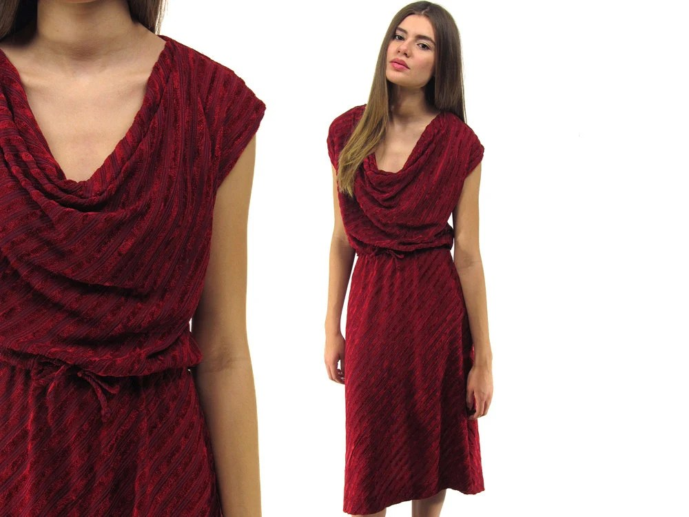70s Velvet Dress Cowl Neck Dress Chevron Dress Boho Dress