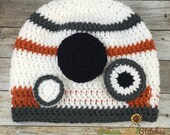 BB-8 inspired-hand crocheted beanie-size 5 to preteen or adult