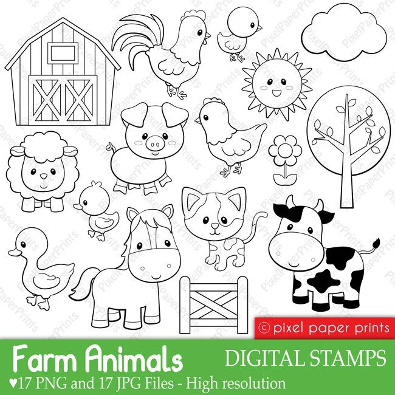 farm animals digital stamps