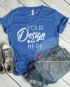 Bella Canvas Mockup Blue V Neck Tshirt 3005 V Neck Shirt Royal Etsy