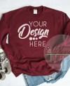 Sweatshirt Mockup Unisex Gildan 18000 Maroon Flat Lay Long Etsy