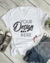 White V Neck Tshirt Bella Canvas Mockup 3005 V Neck Shirt Etsy