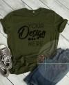 Olive Green Tshirt Bella Canvas Mockup 3001 Olive Unisex Shirt Etsy
