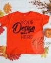 Fall Kids Mockup Orange Childrens T Shirt Flat Lay Kids Shirt Etsy