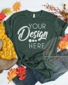 Fall Flat Lay Mockup Bella Canvas 3001 Heather Forest Green Etsy