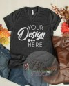 V Neck T Shirt Mock Up Fall Flat Lay Mockup Bella Canvas 3005 Etsy