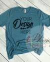 Heather Deep Teal T Shirt Bella Canvas Mockup 3001 Deep Teal Etsy
