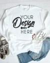 White Sweatshirt Mockup Unisex Gildan 18000 White Flat Lay Etsy