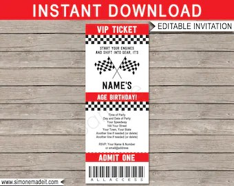 race car invitations etsy