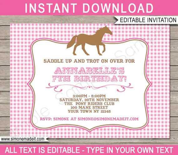 horse invitations horse birthday party invitation template pony party printable invite instant download editable text you edit