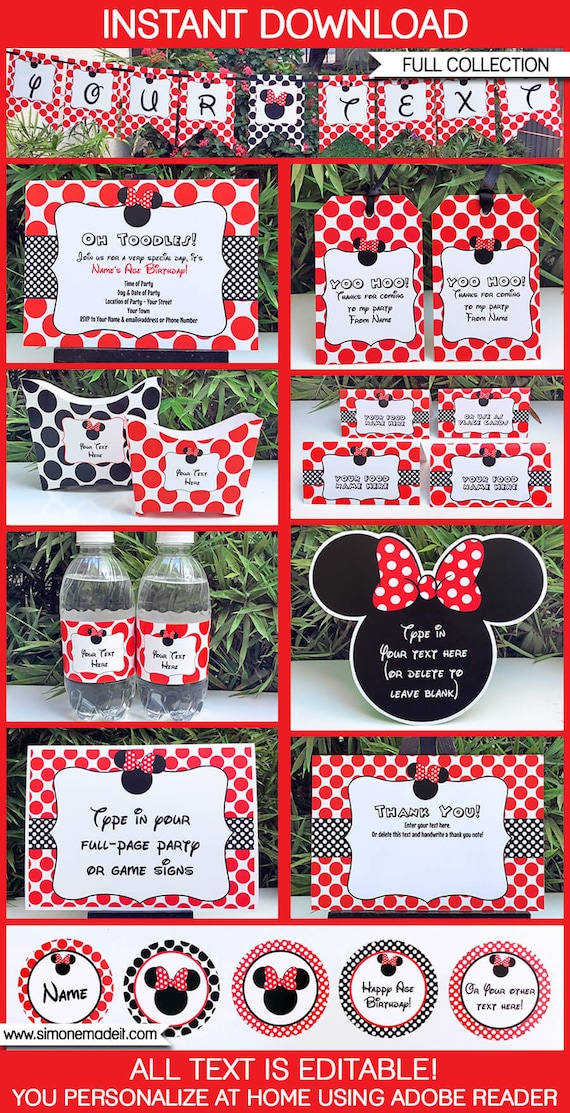 printable minnie mouse birthday party