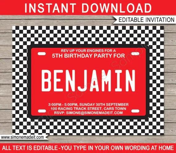 race car invitation template birthday