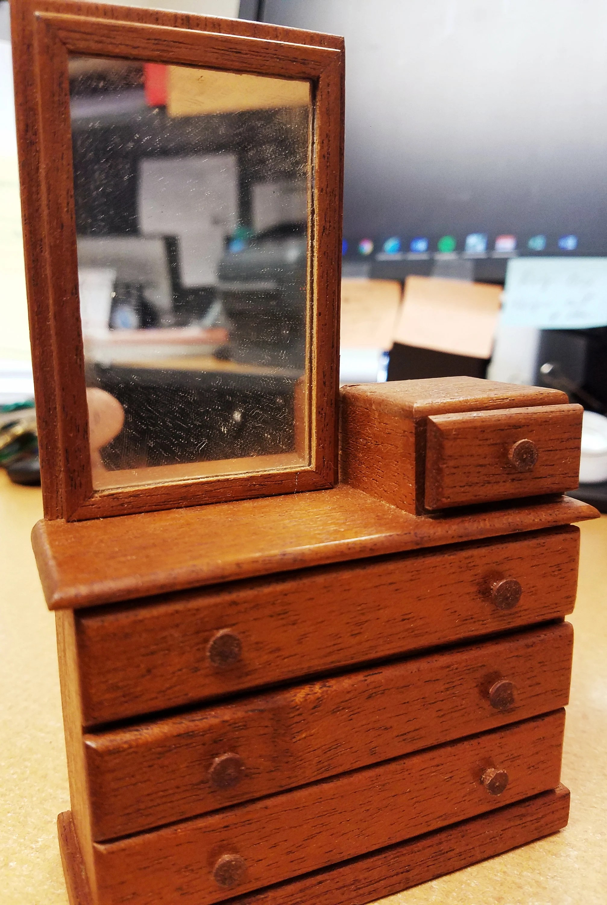 rare vintage wooden dresser with mirror drawers craft dollhouse 1960 s mahogany