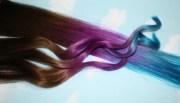 purple blue tie dye hair tips