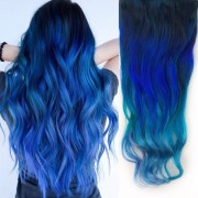 ombre teal blue tip dyed hair extension