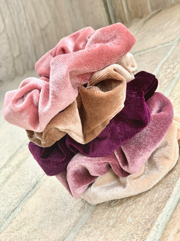 Scrunchie Hair Tie Bridesmaid Gift  Blush Pink Rose Gold image 1