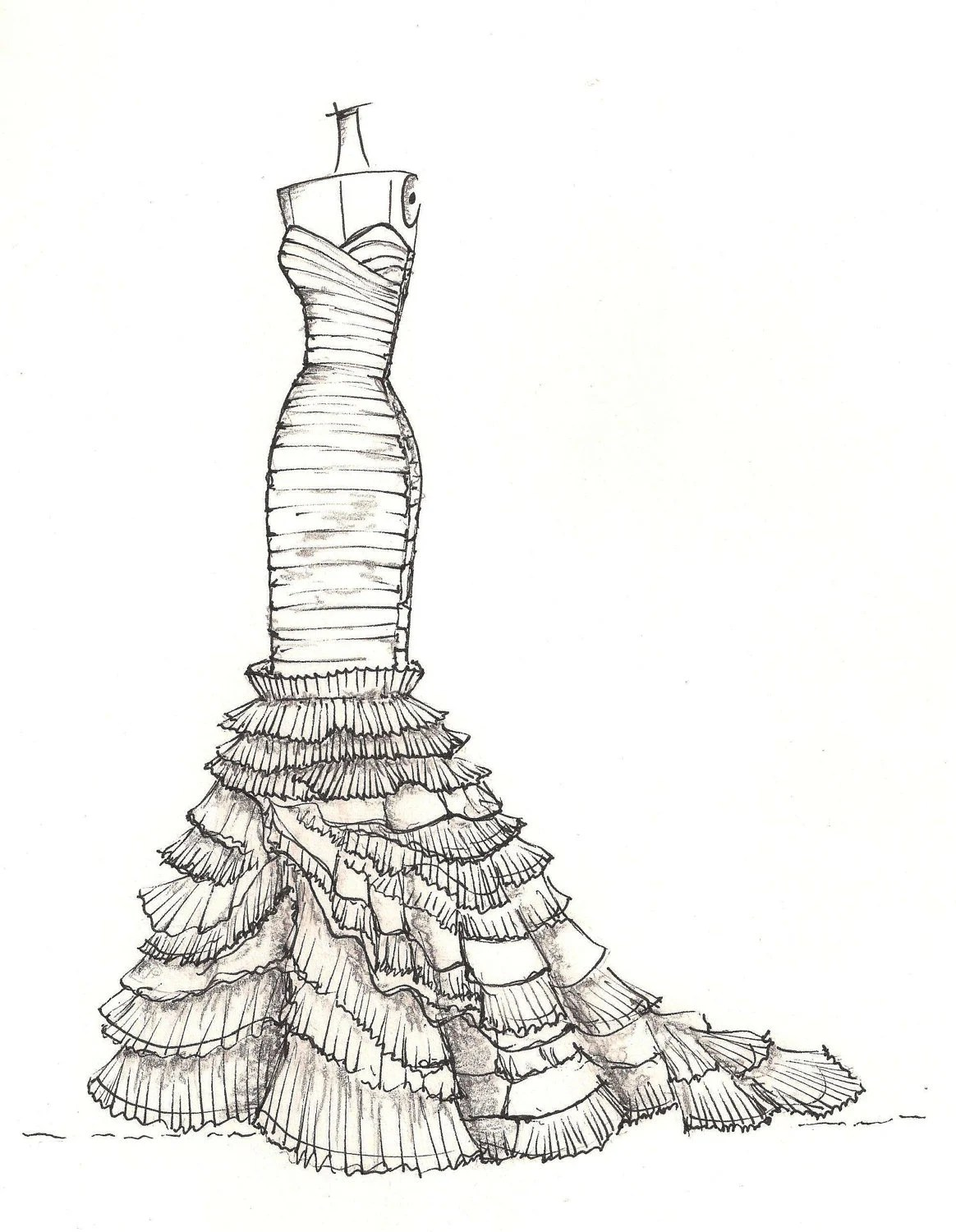 Items similar to custom gown sketch, great gift for