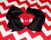 razorback hair bow center embroidery