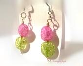 Pink and Green Quartz Ear...