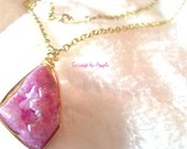 Pink Druzy Agate Necklace...