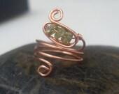 Peridot Copper Midi Ring/...