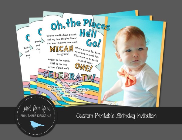 Birthday Invitation Pastel Rainbow Boy