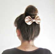 champagne leather hair bow barrette