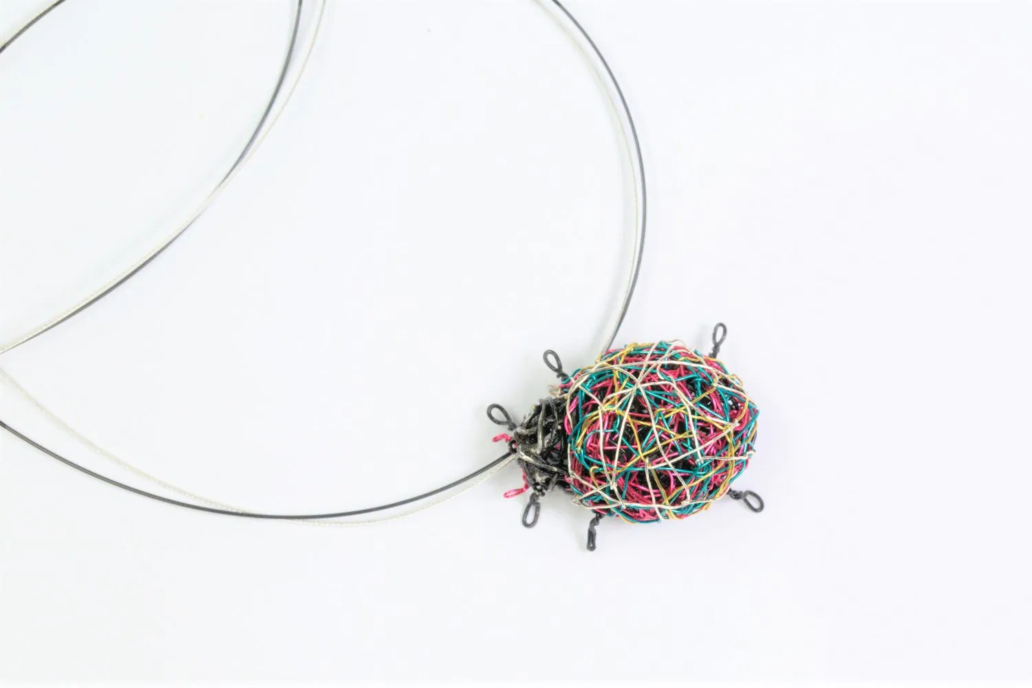 Ladybug Necklace Ladybird Insect Art Jewelry Cute Wire