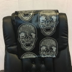Black Skull Chair In Chinese Vinyl 14x30 Sofa Loveseat Chaise Theater Seat Rv Etsy Image 0