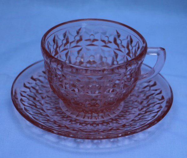 Closeout Jeannette Glass Holiday Pattern Pink Rayed Cup