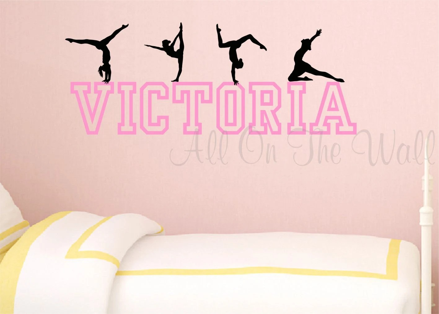 gymnastics wall decal girls name decal personalized gymnast etsy