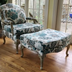 Leather Bergere Chair And Ottoman Spotlight Loose Covers Etsy Parker Southern In Braemore Fabric Pattern Totally Refurbished Shipping Rates Vary