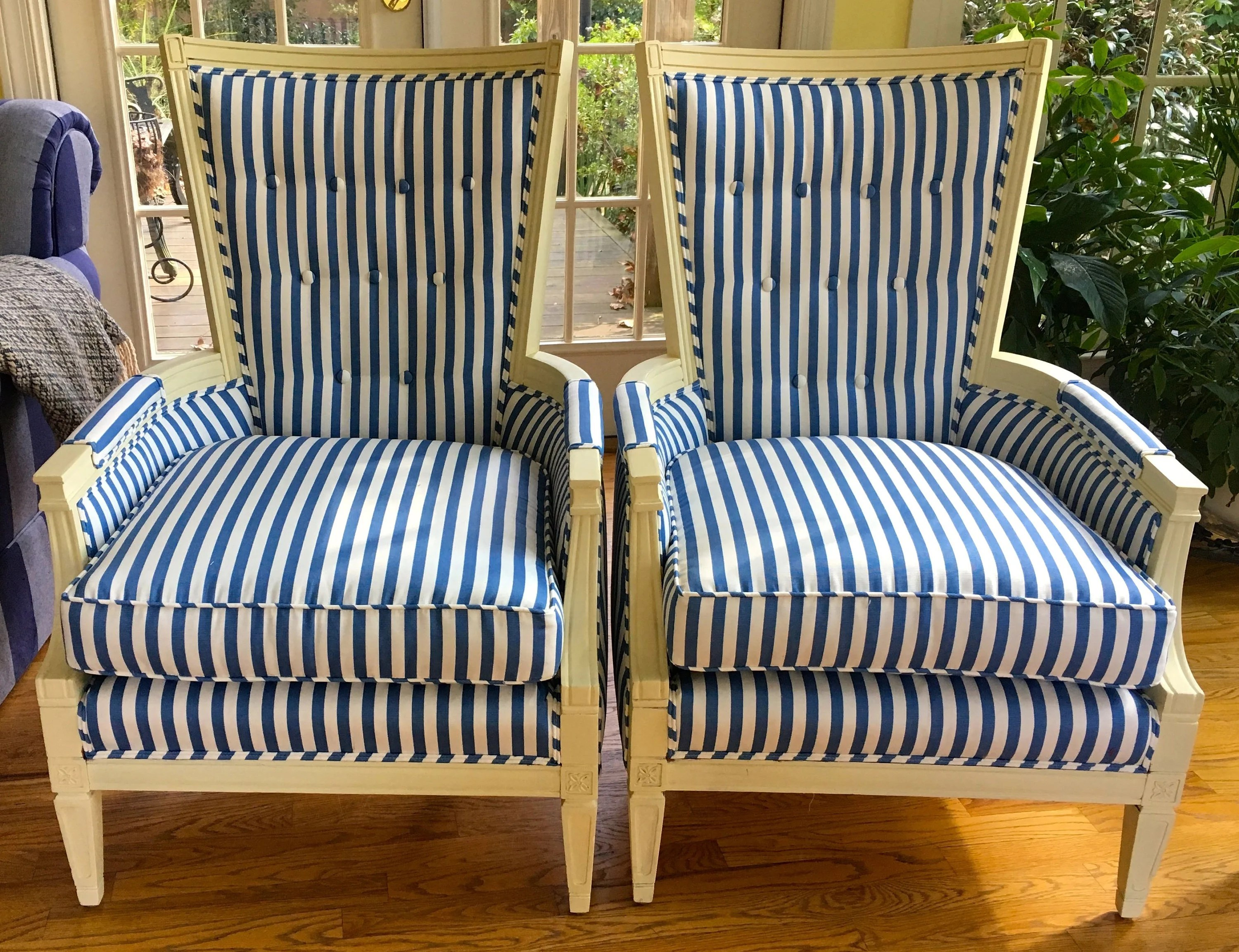blue and white striped chair banquet covers toronto pair of french style chairs with buttoned etsy image 0