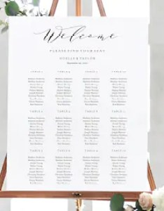 Editable template instant download soft calligraphy guest seating chart in size and table variations also etsy rh