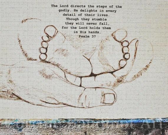 impression d aquarelle de petits pieds dans les mains de dieu l art d ecriture dessin avec le vers l art de pepiniere les pieds de cheri est la