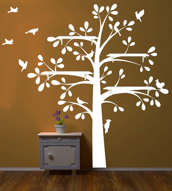 Shelf Tree Decal With Owl Nursery Theme