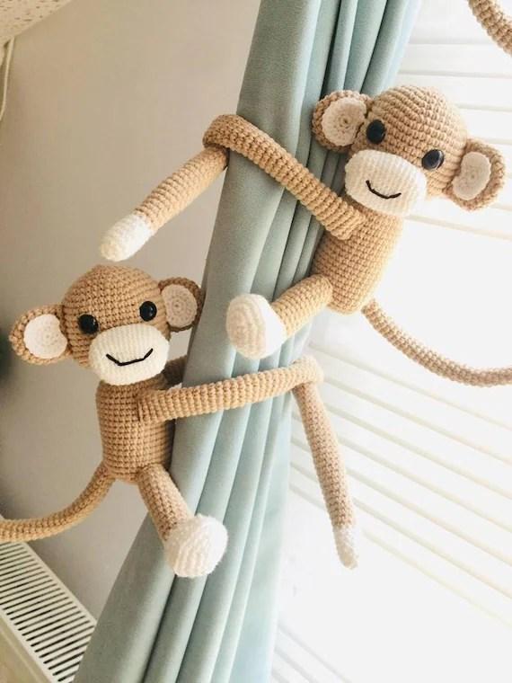 crochet singe rideau tie dos animal baby gif dos de rideau de pepiniere de bebe tiebacks de rideau de singe animal suspendu de berceau jouets