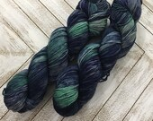 In Stock | Hand Dyed Yarn | Indie Dyed | Fingering Weight | Superwash Merino Wool | Mosaic | Navy | Mint | Jade | Gray/Grey