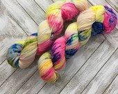 In Stock | Hand Dyed Yarn | Indie Dyed | Fingering Weight | Superwash Merino Wool | Speckled | Neon | Fluorescent | Rainbow