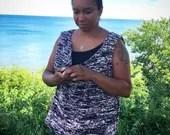 Oversized Sleeveless Tunic - Knit Pattern - Top - Tunic - Sleeveless - Shirt - Knit - Pattern